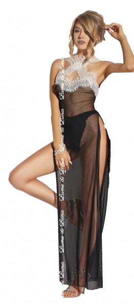 Schwarzes erotisches Damen Dessous Chemise langes Nacht-Kleid aus Tüll und Spitze mit Panty Slip