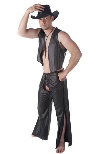 Sexy 3-teiliges Männer Dessous wetlook Cowboy-Set Kostüm aus String, Weste und Chaps Hose schwarz