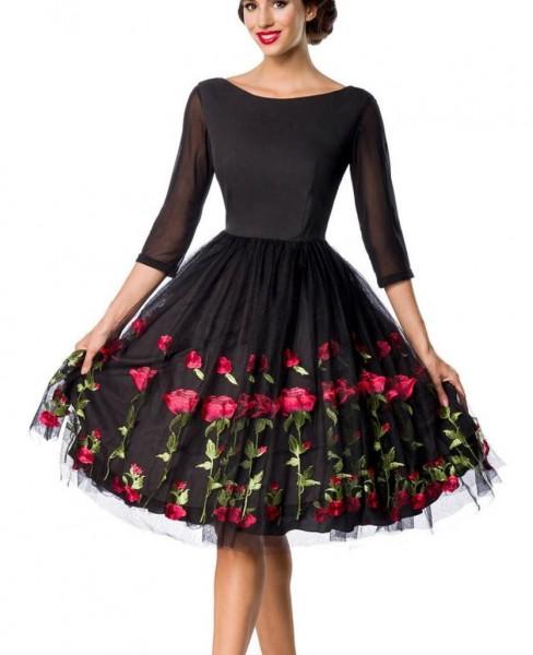 Schwarzes knielanges Swing Kleid im High Waist Schnitt mit Rosen und Stickereien und U-Boot-Ausschni