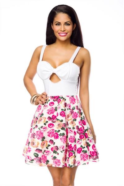 Damen Sommerkleid mit Blumendruck knielang Damen Kleid mit Cups und Träger Onesize S/M