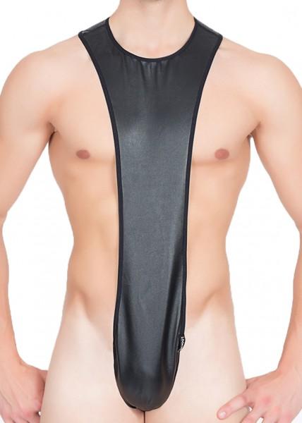 Schwarzer Herren Kunstleder-Body elastisch fetisch Dessous