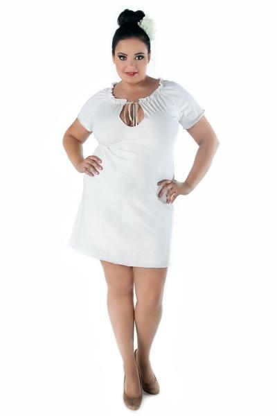 Weißes Damen Dessous Chemise Nachtkleid XXL mit Schnürung und kurzen Ärmeln Nchthemd Kleidchen