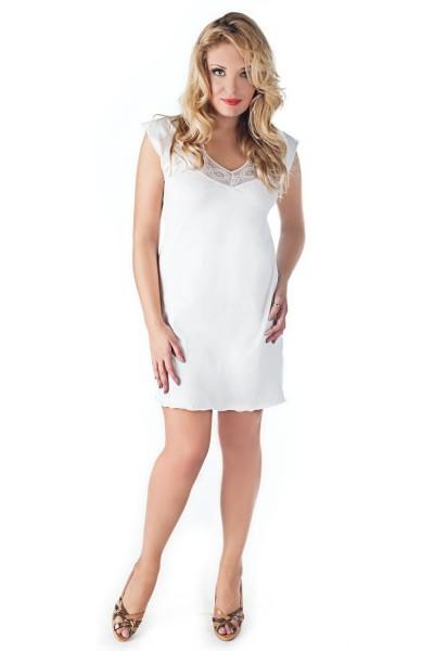 Weißes Damen Chemise Nachtkleid Hemd mit Spitze XXL Negligee