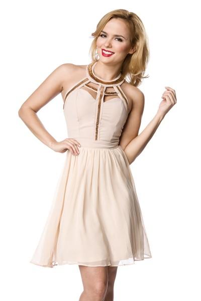 Rosa Damen Partykleid Abendkleid mit goldenem Kragen Schmuck knielang
