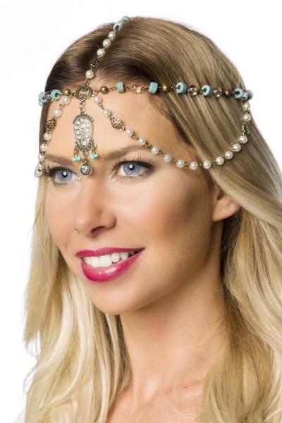 Koppfschmuck Kette mit Perlen und Steinen Kopfkette mit Hakenverschluss OneSize