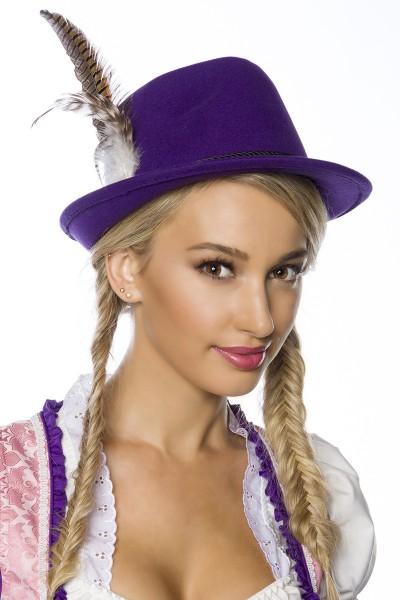 Lila Damen Filzhut Trachtenhut mit Kordel und Federn Oktoberfest Verkleidung