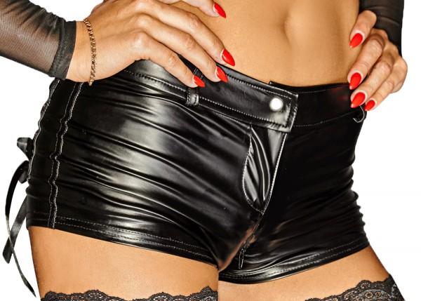 Schwarze Damen Dessous wetlook Shorts mit Reißverschluss kurze Hose