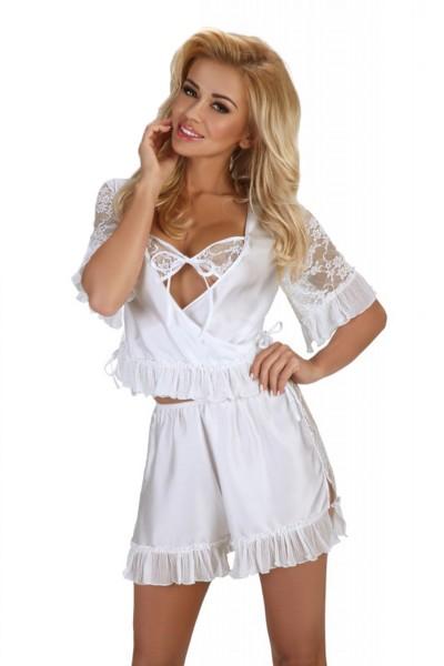 Damen Dessous Set aus Top und Shorts in weiß mit Satin und Spitze zum binden