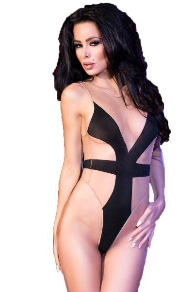 Damen Dessous Body in schwarz elastisch hautfarben OneSize S/M