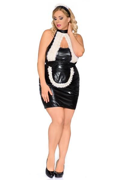 Erotisches schwarze weißes Damen Dessous wetlook Negligee mit Spitze XXL Chemise Kellnerin
