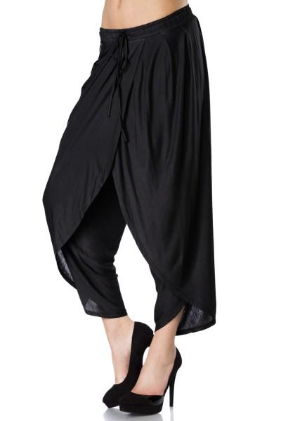 Schwarze Haremshose weit geschnitten mit Kordelzug zum Binden Damen Hose weit