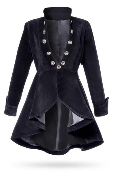 Schwarze kurze Damen Gehrock Jacke mit langen Ärmeln und Stehkragen Metallknöpfen vorn Samt-Stoff