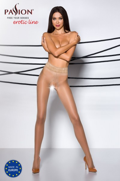 Frauen ouvert Strumpfhose beige elastisch im Schritt offen hautfarben