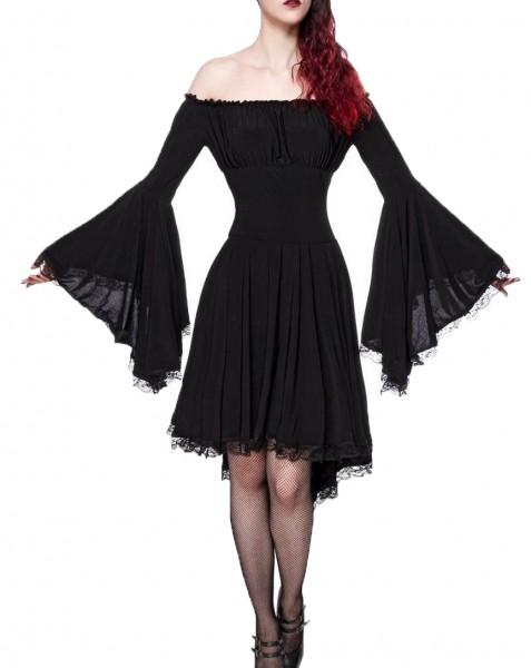 Jerseykleid Damen Gothic-Kleid in schwarz mit Spitze Trompetenärmeln Vintagekleid mit langen Ärmeln