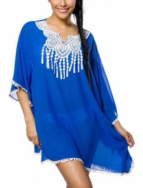 Blaue Tunika mit Fransen und V-Ausschnitt im Boho Style sowie überschnittene Schulter