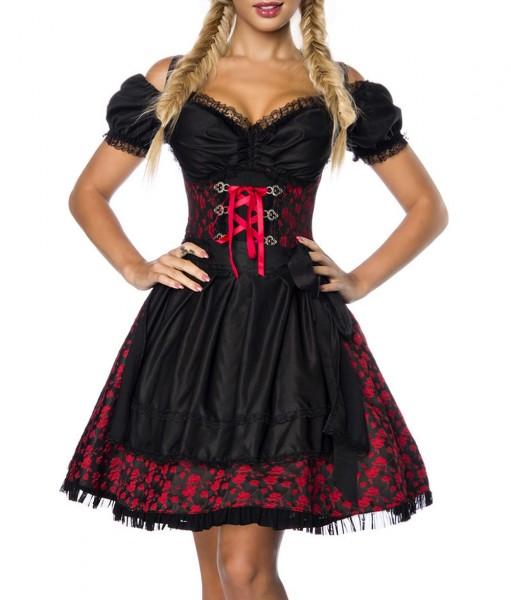 Dirndl Kleid Kostüm mit Bluse und Schürze aus Jacquard Stoff und Spitze Oktoberfest Dirndl rot/schwa