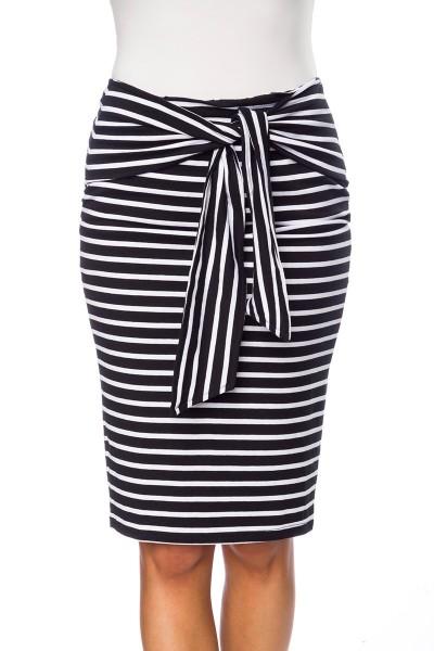 Gestreifter Damen Sommerrock Pencilrock mit Reißverschluss und Bindegürtel knielang OneSize S/M