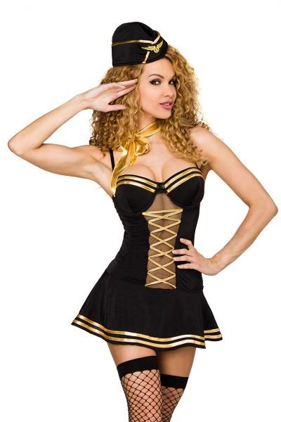 Damen sexy Stewardess-Kostüm mit Kleid Mütze Stockings und Halsband Roleplay Verkleidung