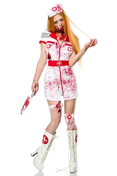 Damen Zombie Krankenschwester Kostüm Set Verkleidung Horror Nurse Minikleid