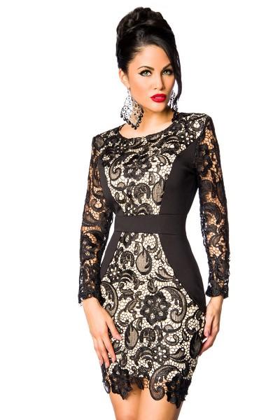 Schwarzes Kleid aus Spitze hautfarben unterlegt mit langen Spitzenärmeln Minikleid