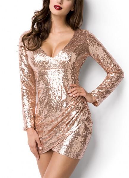 Goldenes kurzes Abendkleid aus Pailletten glänzend mit tiefem V-Ausschnitt Reißverschluss hinten lan