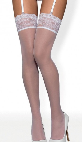 Damen Dessous Stockings Strapsstrümpfe in weiß mit Spitze elastisch Strümpfe transparent