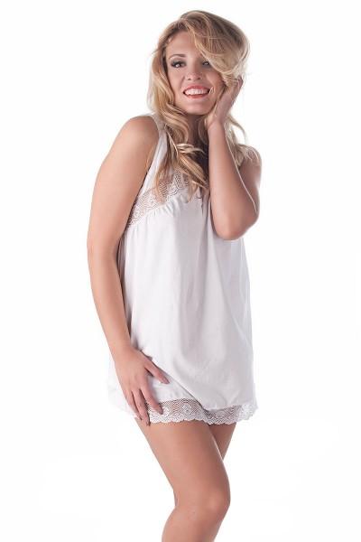 Damen Dessous Chemise in weiß mit Spitze und V-Ausschnitt erotisches Nachtkleid Negligee weich