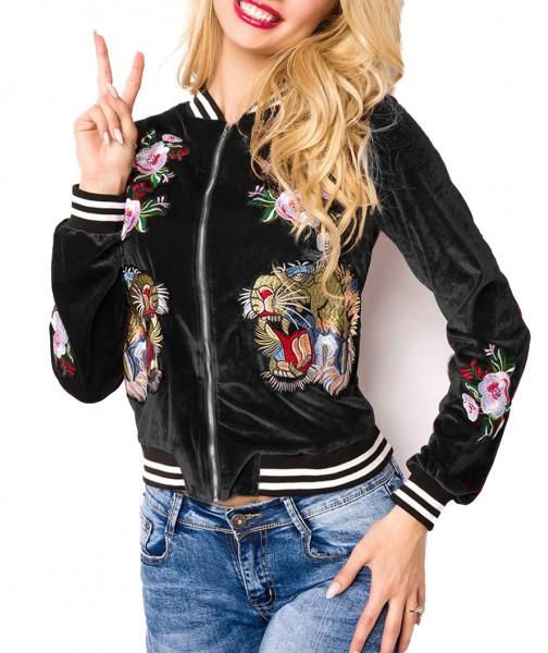 Kurze Samt Blouson Jacke mit langen Ärmeln und Tiger sowie Blumenmuster Metallreißverschluss vorn
