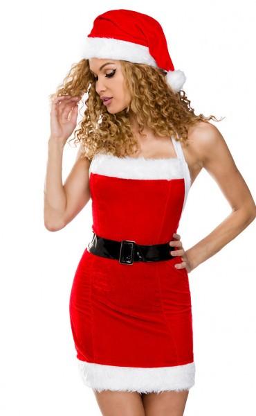 Damen Weihnachts Minikleid als Neckholder rot-weiß XS-M Oberteil Kleid Dress Kleid, Mütze, String
