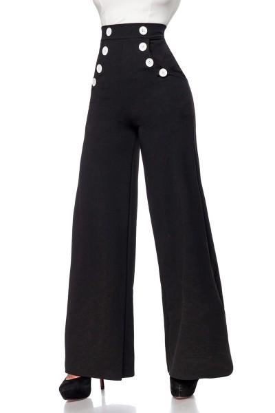 Schwarze weite Schlaghose weiße Knöpfe mit High Waist und Reißverschluss an der Seite einfarbig Lang