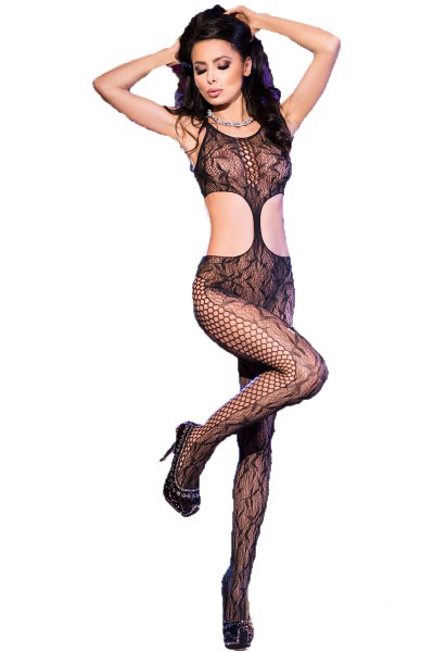 Damen Bodystocking in schwarz transparent mit Schnürung ouvert elastisch One Size S/M