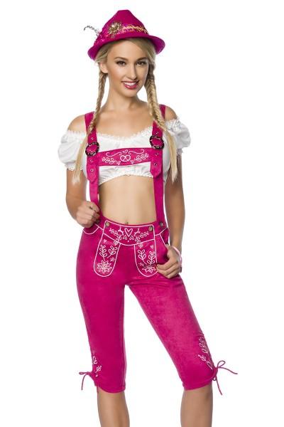 Pinke Damen Trachtenkniebundhose mit Hosenträgern und Stickereien Velourlsederoptik Bayrische Latzkn