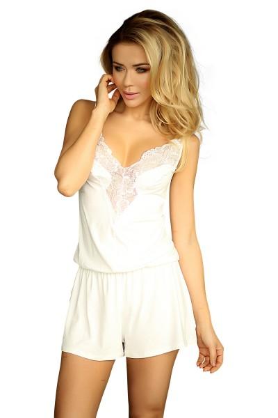 Damen Dessous Bodysuit aus Top und Short mit Spitze Mini-Kleid Nachthemd Pyjama in ecru