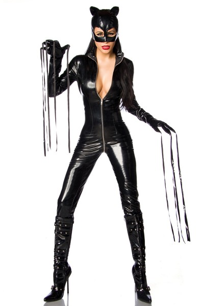 Schwarzes sexy Wetlook Catwoman Outfit Overall mit Handschuhen und Maske Rundumreißverschluss