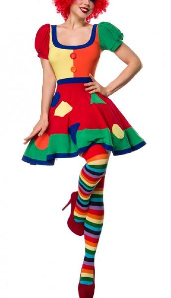 Kurzes Damen Clown Outfit Kostüm Verkleidung mit Kleid, Perücke, Nase, Strümpfe mit Puffärmel in bun