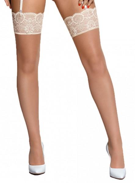 Spitzen Stockings in weiß creme Strapsstrümpfe für Strumpfhalter nicht selbsttragend aus Netzmateria