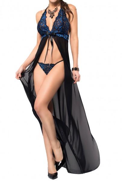 Langes Dessous Abendkleid Nachtkleid Gown aus Tüll und Spitze in schwarz blau Damen Negligee Chemise