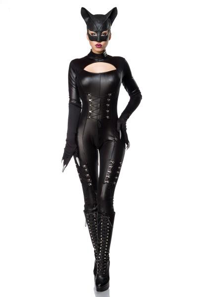 Damen Catwoman Outfit Kostüm Verkleidung mit Overall, Maske, Handschuhe und Schnürung in schwarz Wet