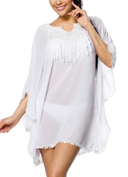 Weiße Tunika mit Fransen und V-Ausschnitt im Boho Style sowie überschnittene Schulter
