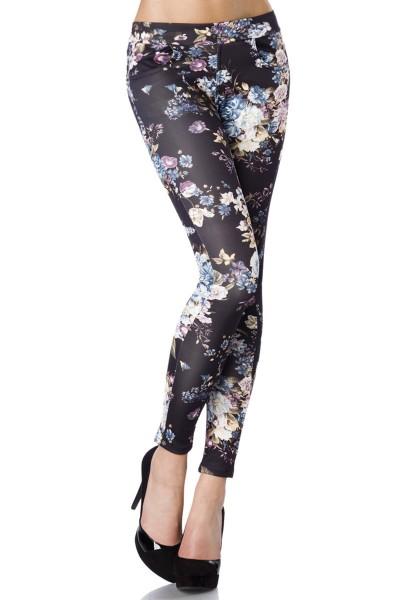 Dunkle enge Damen Hose mit Blumenmuster und Eingriffstaschen in Vorderteil und an den Gesäßtaschen