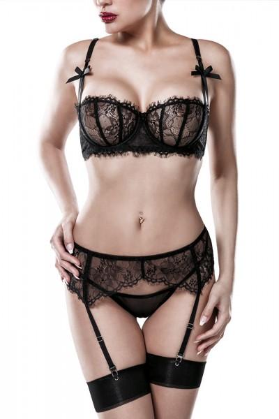 3-teiliges erotisches Damen Dessous Straps-Set BH mit Bügel, Strumpfhaltergürtel und String aus Tüll