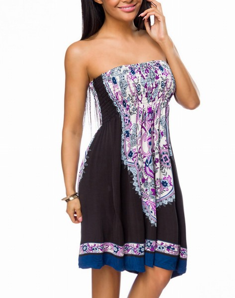 Sommerkleid mit buntem Muster Paisley Muster Strandkleid Schulterfrei