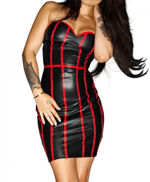 Schwarzes Dessous Kleid mit roten Lack Streifen aus wetlook Material erotisches Minikleid mit Schnür