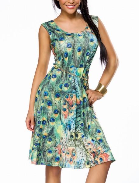 Luftiges ausgestelltes Sommerkleid mit breiten Trägern und Pfaumuster sowie Gürtel Rundhalsausschnit
