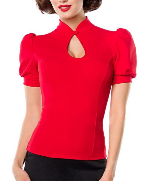 Rote Puffärmel Bluse mit Stehkragen und Tropfenausschnitt mit Knopf Jersey Bluse Rockabilly Kurzarm