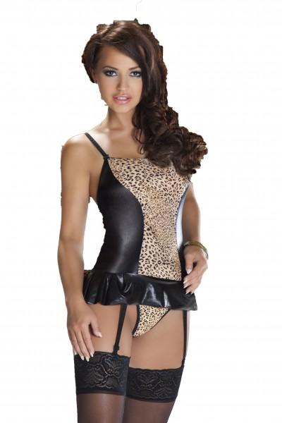 Wetlook Corsage mit Leopard Muster und Strumpfhalter eng Strapscorsage glänzend