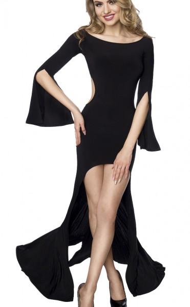 Dunkles kurzes enges Kleid mit langen Fledermausärmeln U-Bootausschnitt asymmetrischer Saum Gogo-kle