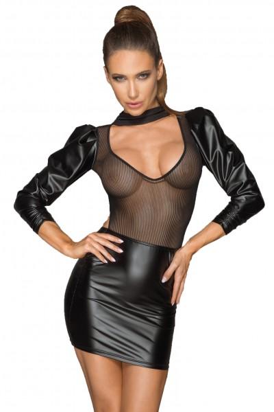 Schwarzes Wetlook- und Tüllkleid mit Retro Ärmeln aus Top durchsichtig und Mini Rock elastisch eroti