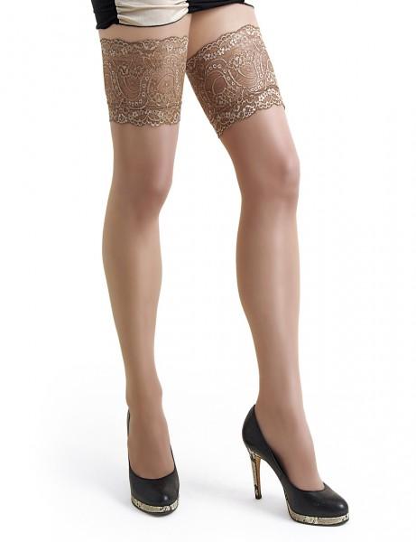 Damen Dessous halterlose Strümpfe aus Spitze in natur Stockings mit Silikonstreifen