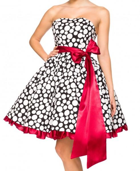 Schwarz rotes kurzes Swing Kleid im High Waist Schnitt mit großer separater Satinschleife und Teller